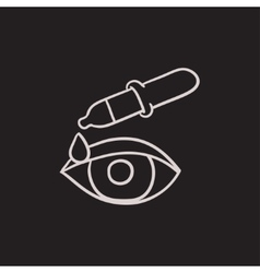 Pipette and eye sketch icon vector