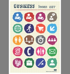 Business web icons set drawn by chalk vector