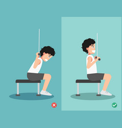 man wrong and right lat pulldown posture vector image