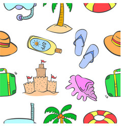 Collection of cartoon summer theme pattern vector
