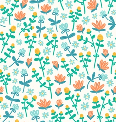 Field flowers doodle pattern vector