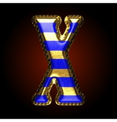 Golden and blue letter x vector