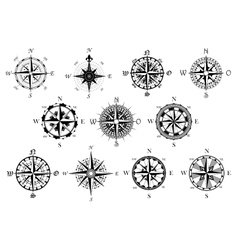 Antique compasses symbols set vector