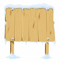 wooden blank board in snow vector image