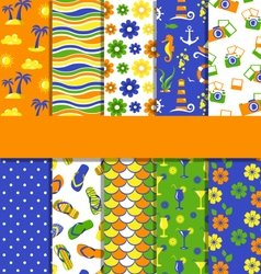 Set of 10 seamless bright summer patterns vector