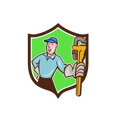 Plumber presenting monkey wrench shield cartoon vector