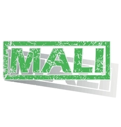 Green outlined mali stamp vector