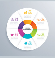 6 business circle infographic background template vector