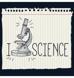 Hand drawn science laboratory microscope icon vector image