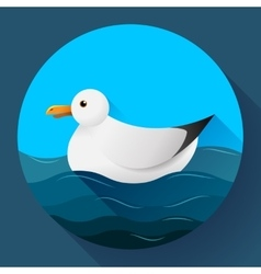 Flat seagull character icon on blue sea background vector