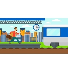 Man running along the platform vector