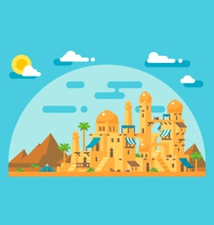 Flat design arab mud village vector