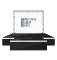 Black color flat style high podium stage with vector