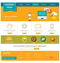 business website template flat design vector image vector image
