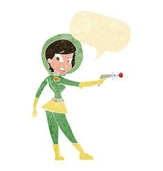 Cartoon sci fi girl with speech bubble vector