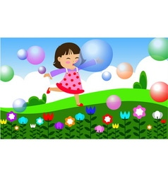 children play in garden vector image