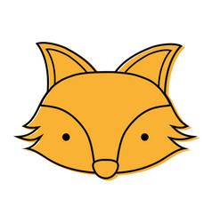 Color cute fox head wild animal vector