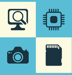 computer icons set collection of chip memory vector image vector image