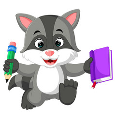 cute raccoon cartoon holding book vector image vector image