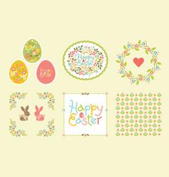 easter set of design elements in pastel colors vector image