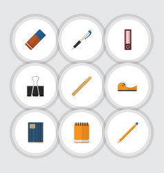 Flat icon stationery set of drawing tool sticky vector
