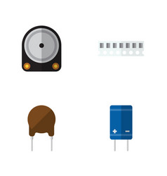 Flat icon technology set of hdd transistor vector