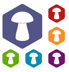 Fungus boletus icons set hexagon vector