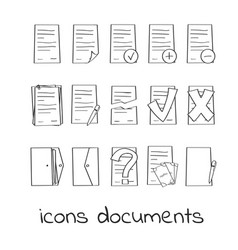 Hand draw icons of documents and contracts vector