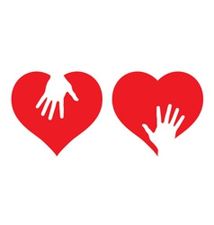 hearts with helping hands vector image vector image