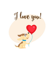 I love you card with dog puppy holding heart vector
