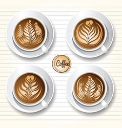 Latte art coffee vector