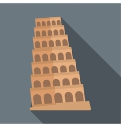 Leaning tower of pisa icon flat style vector
