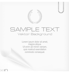 Metallic clip on paper sheet vector image vector image