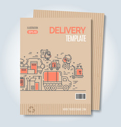 Moving and delivery template with line icons vector