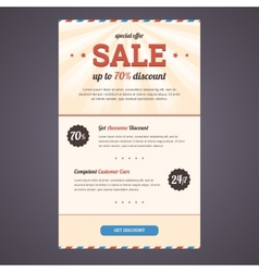 Newsletter template design with discount offer vector