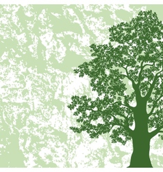 Oak tree silhouette on abstract background vector image vector image