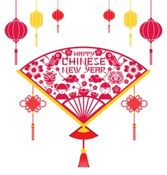 Papercut fan chinese new year vector