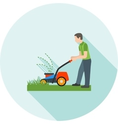 Person mowing grass vector