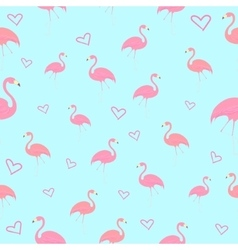 Seamless pattern flamingo bird with heart vector image