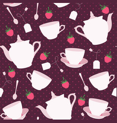 seamless pattern with cups and teapots and vector image