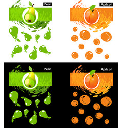 Set template of pear and apricot fruit vector