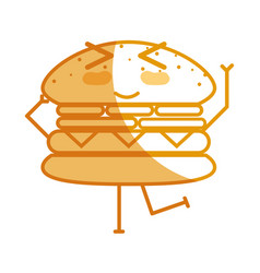 Silhouette kawaii cute funny humburger food vector