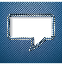 Speech bubble on jeans background vector image vector image