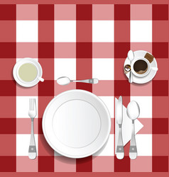 Table for lunch with coffee and tea set two vector