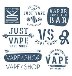 Vapor bar and vape shop labels vector