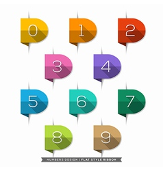 0-9 Number long shadow Flat Icons vector image