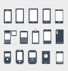 Modern mobile gadgets silhouettes vector