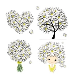 Floral set - tree girl heart frame for your vector