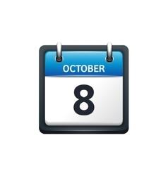October 8 Calendar icon flat vector image