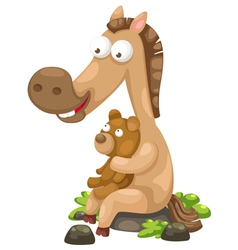 horse with bear vector image